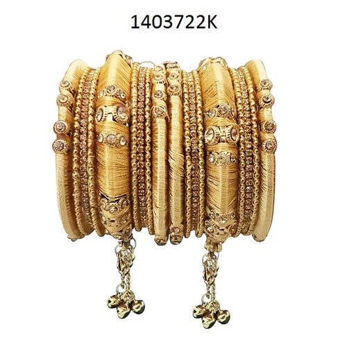 Tiptop Fashions Golden Thread Austrian Stone Bangle Set