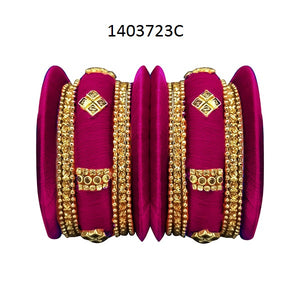 Tiptop Fashions Purple Thread Austrian Stone Bangle Set