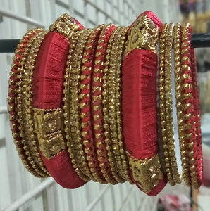 Tip Top Fashions Gold Plated Austrian Stone Red Thread Bangle Set - 1403725