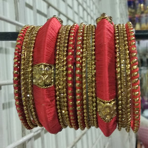 Tip Top Fashions Gold Plated Austrian Stone Orange Thread Bangle Set - 1403726