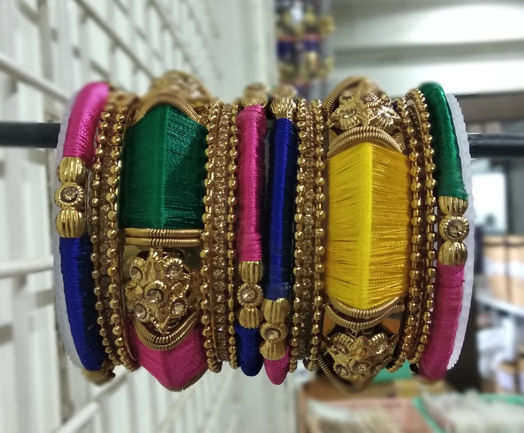 Tip Top Fashions Gold Plated Austrian Stone Multi Thread Bangle Set - 1403734