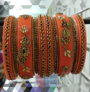 Tip Top Fashions Gold Plated Austrian Stone Orange Bangle Set - 1403742C