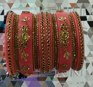 Tip Top Fashions Gold Plated Austrian Stone Pink Bangle Set - 1403742D