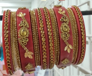 Tip Top Fashions Gold Plated Austrian Stone Maroon Bangle Set - 1403742E