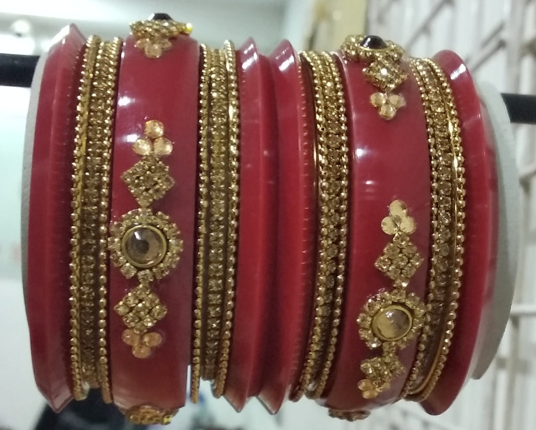 Tip Top Fashions Gold Plated Austrian Stone Maroon Bangle Set - 1403744