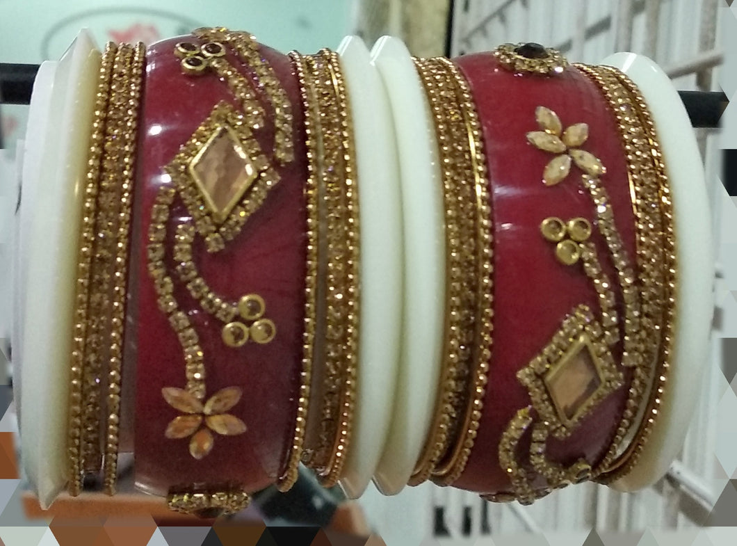 Tip Top Fashions Gold Plated Austrian Stone Red Bangle Set - 1403745