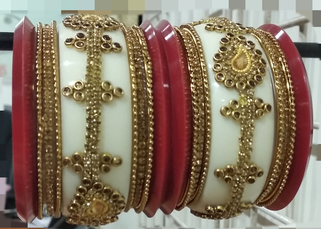 Tip Top Fashions Gold Plated Austrian Stone Maroon Bangle Set - 1403746