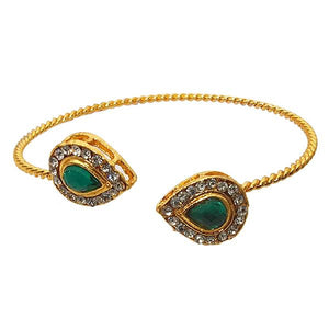 Tiptop Fashions Gold Plated Green Stone Kada - 1501407