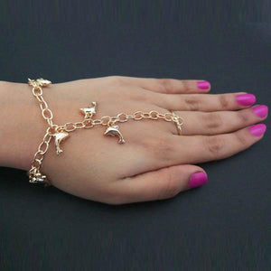 Tiptop Fashions Dolphin Design Gold Plated Chain Hand Harness - 1502372