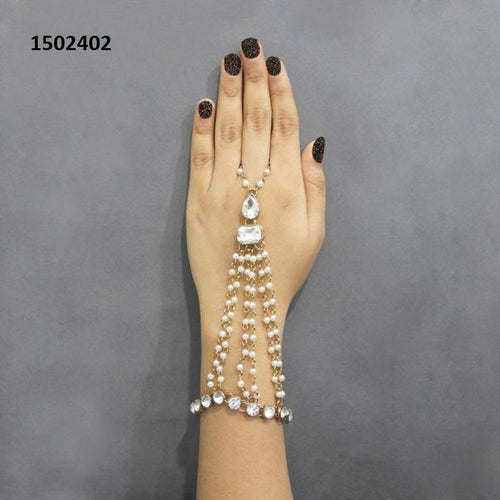 Tiptop Fashions  Pearls Gold Plated Pearl Stone Chain Hand Harness - Tiptop Fashions