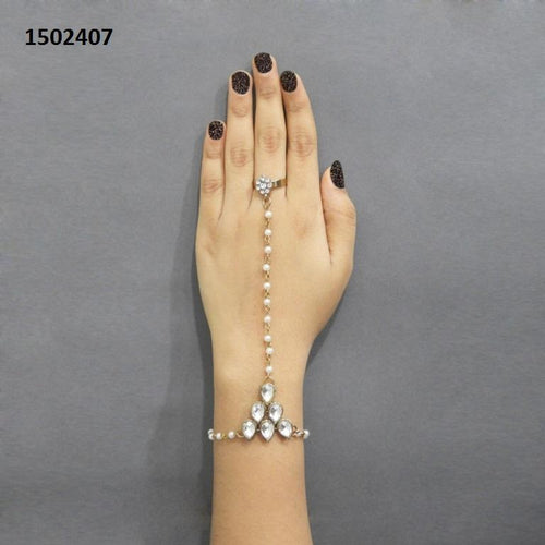 Tiptop Fashions  Pearls Gold Plated Stone Pearl Chain Hand Harness - Tiptop Fashions