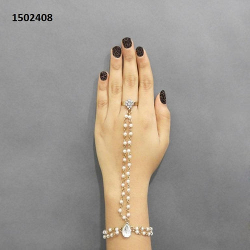 Tiptop Fashions  Pearls Stone Pearl Gold Plated Chain Hand Harness - Tiptop Fashions