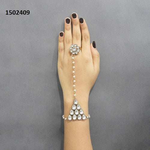 Tiptop Fashions  Pearls Pearl Stone Gold Plated Chain Hand Harness - Tiptop Fashions