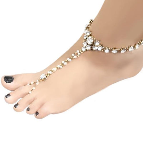 Tip Top Fashions  Austrian Stone Pearl Anklet - 1503108