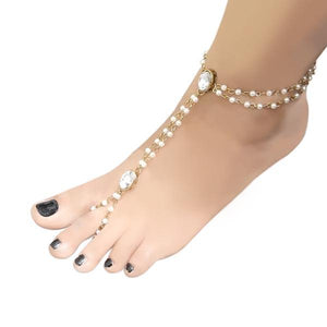 Tip Top Fashions Gold Plated Austrian Stone Pearl Anklet - 1503109
