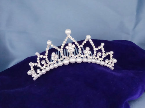 Tip Top Fashions Silver Plated Hair Crown - 1503668