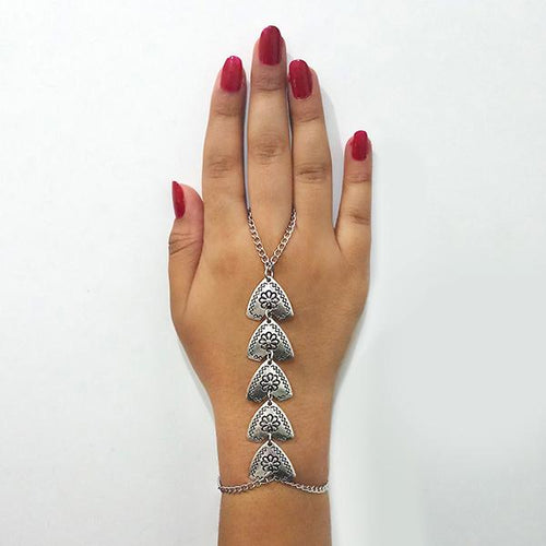 Tip Top Fashions  Oxidised Silver Plated Hand Harness - 1503711