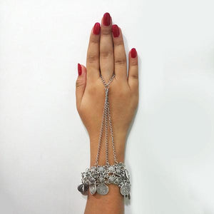 Tip Top Fashions  Oxidised Silver Plated Hand Harness - 1503719
