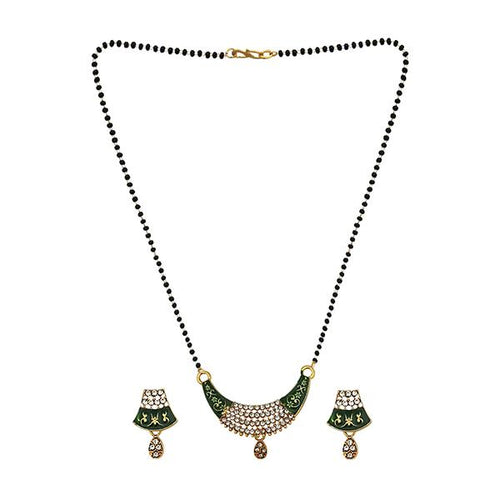 Tip Top Fashions Green Meenakari And Austrian Stone Mangalsutra - 1505801A