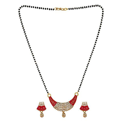 Tip Top Fashions Red Meenakari And Austrian Stone Mangalsutra - 1505801B