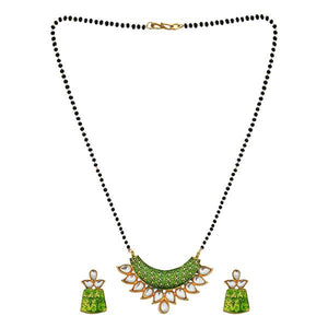 Tip Top Fashions Green Meenakari And Kundan Mangalsutra - 1505802A