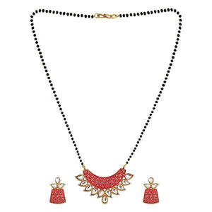 Tip Top Fashions Red Meenakari And Kundan Mangalsutra - 1505802B