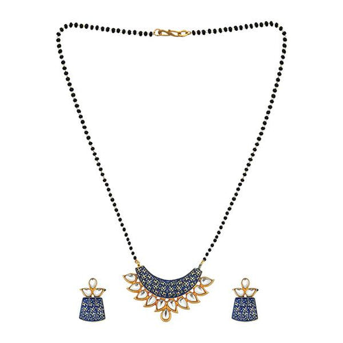 Tip Top Fashions Blue Meenakari And Kundan Mangalsutra - 1505802C