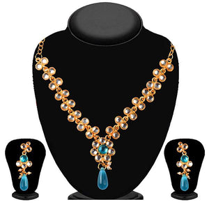 Tiptop Fashions Blue And White Kundan Necklace Set - 2200403