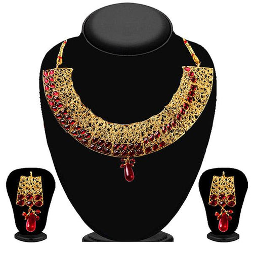 Tiptop Fashions Gold Plated Maroon Kundan Necklace Set - 2200512