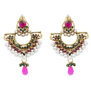 Tiptop Fashions  Austrian Stone Pearl Gold Plated Chandbali Earrings - Tiptop Fashions