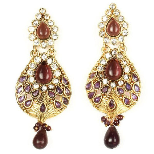 Tiptop Fashions  Gold Plated Austrian Stone Dangler Earrings - Tiptop Fashions