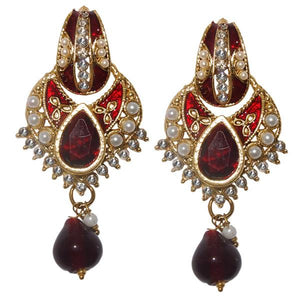 Tiptop Fashions  Austrian Stone Maroon Meenakari Dangler Earrings - Tiptop Fashions