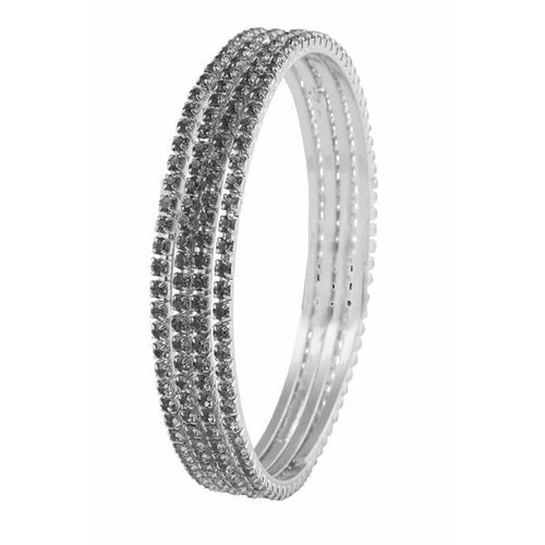 Tiptop Fashions Silver Plated Grey Stone 4 Bangle Sets - 1401614_2.8