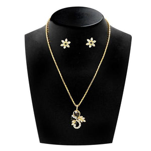Tiptop Fashions  Green Austrian Stone Gold Plated Pendant Set  -  Imitation Jewellery - 1203802 - 12038