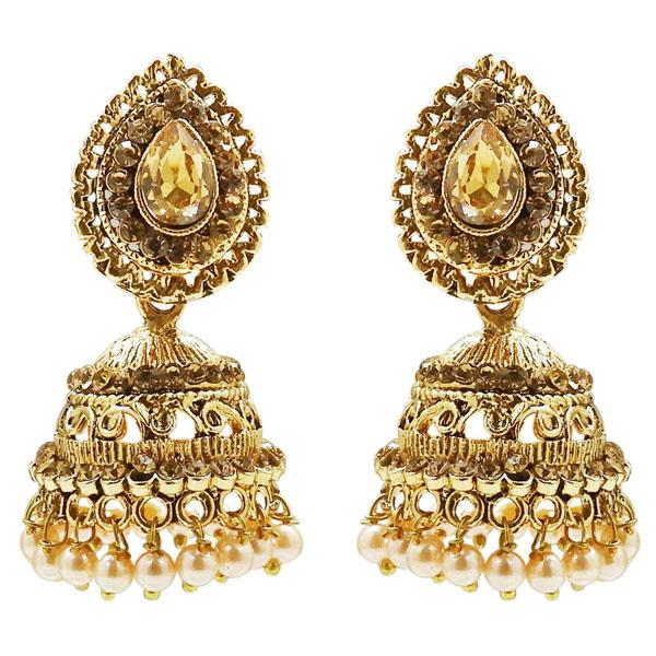 Tiptop Fashions  Stone And Pearl Gold Plated Jhumki Earring  -  Imitation Jewellery - 1311308b - 13113