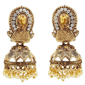 Tiptop Fashions  Stone And Pearl Gold Plated Jhumki Earring  -  Imitation Jewellery - 1311311a - 13113