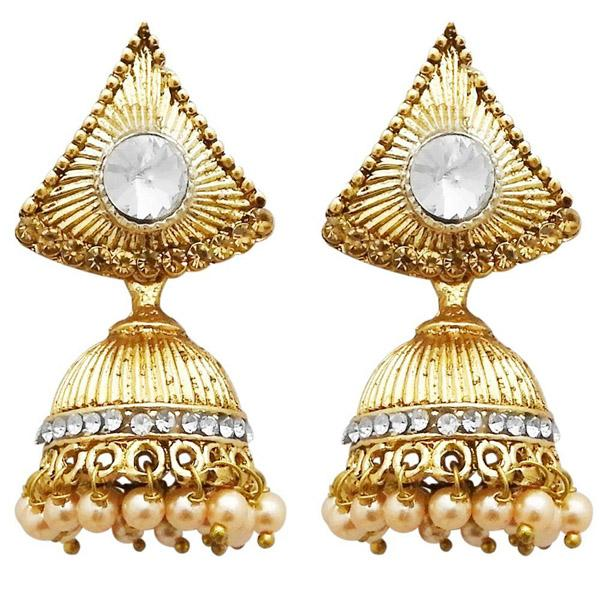 Tiptop Fashions  Gold Plated White Austrian Stone Jhumki Earrings  -  Imitation Jewellery - 1311306a - 13113