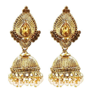 Tiptop Fashions  Gold Plated BrownAustrian Stone Jhumki Earrings  -  Imitation Jewellery - 1311307b - 13113