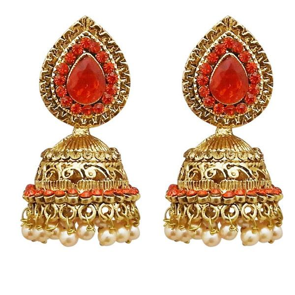 Tiptop Fashions  Gold Plated Red Austrian Stone Jhumki Earrings  -  Imitation Jewellery - 1311308c - 13113