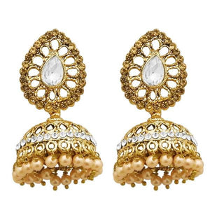 Tiptop Fashions  Gold Plated White Austrian Stone Jhumki Earrings  -  Imitation Jewellery - 1311309a - 13113