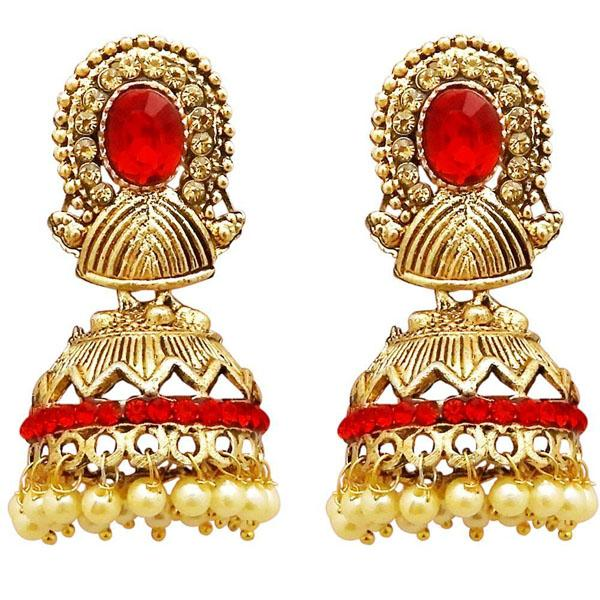 Tiptop Fashions  Gold Plated Red Austrian Stone Jhumki Earrings  -  Imitation Jewellery - 1311311c - 13113