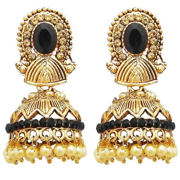 Tiptop Fashions  Gold Plated Black Austrian Stone Jhumki Earrings  -  Imitation Jewellery - 1311311g - 13113