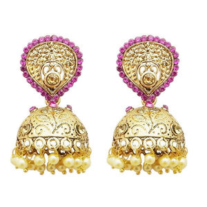 Tiptop Fashions  Gold Plated Pink Austrian Stone Jhumki Earrings  -  Imitation Jewellery - 1311314f - 13113
