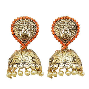 Tiptop Fashions  Gold Plated Orange Austrian Stone Jhumki Earrings  -  Imitation Jewellery - 1311314h - 13113