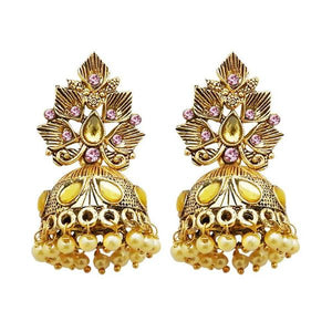 Tiptop Fashions  Gold Plated Pink Austrian Stone Jhumki Earrings  -  Imitation Jewellery - 1311315g - 13113