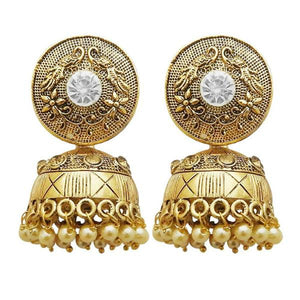 Tiptop Fashions  Gold Plated White Austrian Stone Jhumki Earrings  -  Imitation Jewellery - 1311316a - 13113