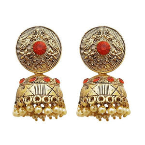 Tiptop Fashions  Gold Plated Orange Austrian Stone Jhumki Earrings  -  Imitation Jewellery - 1311316c - 13113