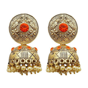 Tiptop Fashions  Gold Plated Orange Austrian Stone Jhumki Earrings  -  Imitation Jewellery - 1311316i - 13113