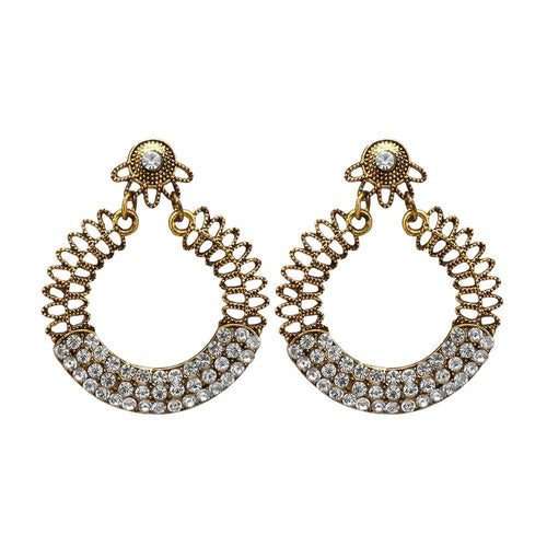 Tiptop Fashions  Antique Gold Plated White Austrian Stone Dangler Earrings - Tiptop Fashions