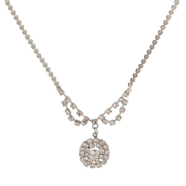 Tiptop Fashions  Austrian Stone Rhodium Plated Necklaces  -  Imitation Jewellery - 1102414 - 11024